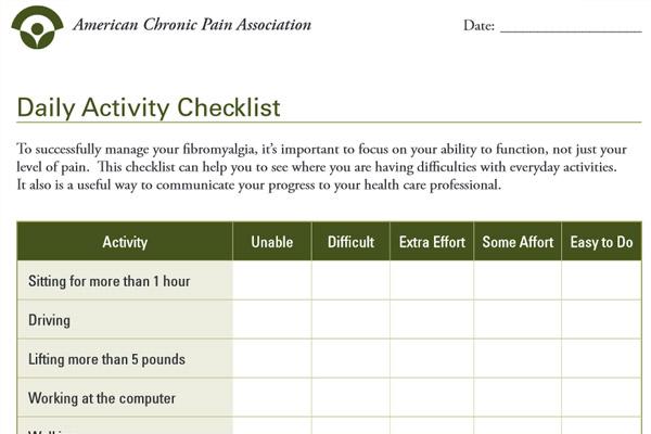 using a fibromyalgia checklist to monitor your progress